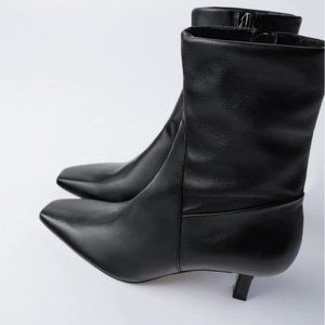🔥MOVING SALE🔥NEW Zara Leather Ankle Boot Black